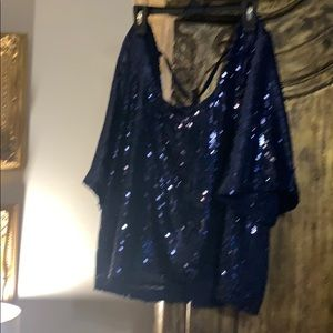 Free people low back  sequined blouse